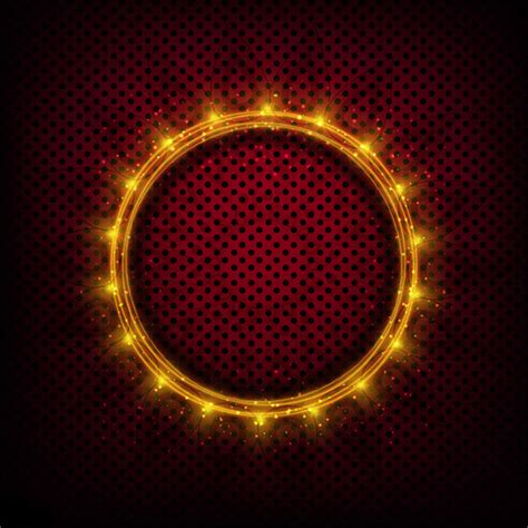 metal frame lights shiny light frame with metal background vector