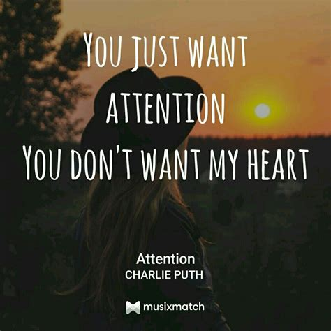 charlie puth song quotes attention by charlie puth lyrics card pinterest