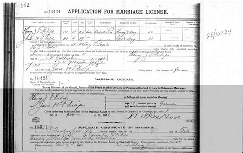 Marriage Records In Pa Copy Of Marriage Certificate Pennsylvania Images