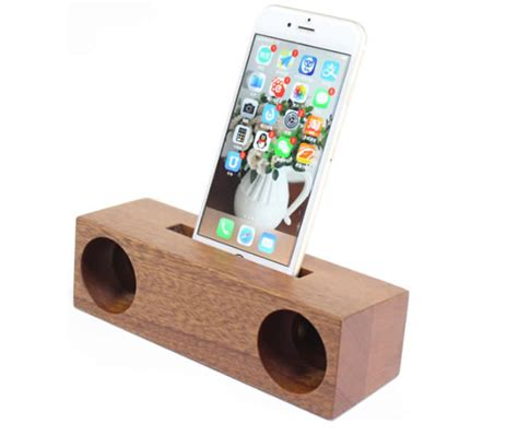 wooden bamboo speaker sound amplifier stand dock
