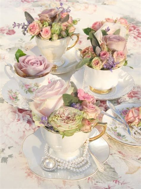 tea vintage teacups with pretty florals and jewels as a