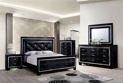 Light Up Bedroom Set by Bellanova Contemporary Black Finish Led Light Up Headboard