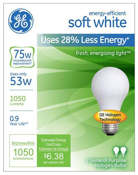 white light light bulbs ge s energy efficient soft white halogen light offers