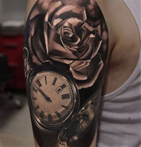 collection of 25 roses and gear clock tattoos on half sleeve