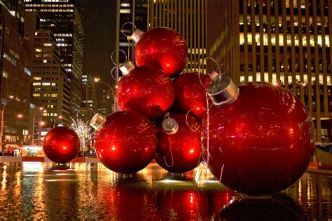 wallpaper christmas new year decoration new york usa city street skyscraper desktop