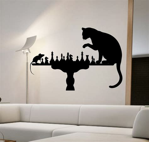 cat bedroom decor cat mouse wall decal playing chess sticker art decor bedroom