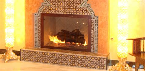 moroccan tiles fireplace