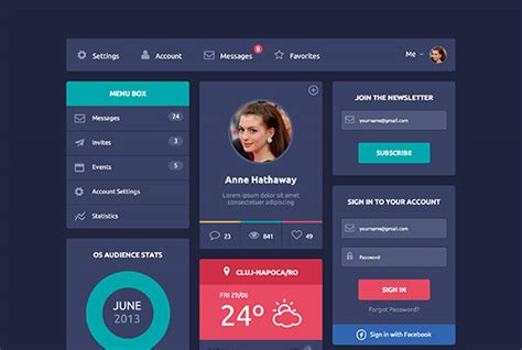 decorator pattern html flat design ui html5 css3 freebiesbug