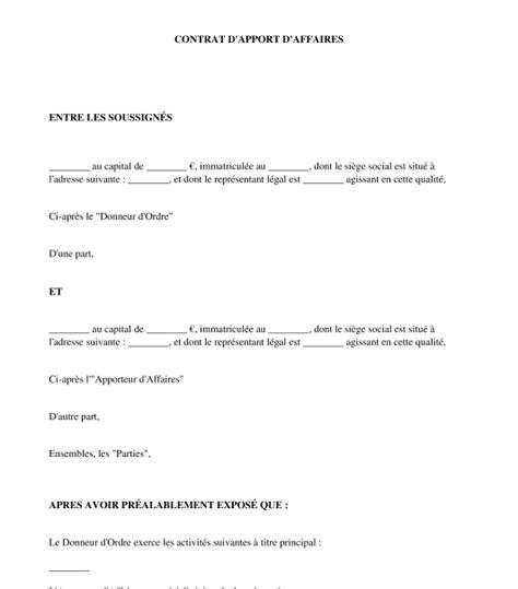 contrat d apport d affaires mod 232 le word et pdf