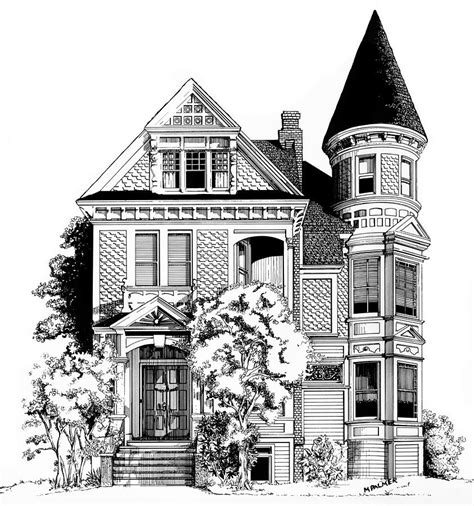 drawing of houses san francisco victorian drawing by mary palmer