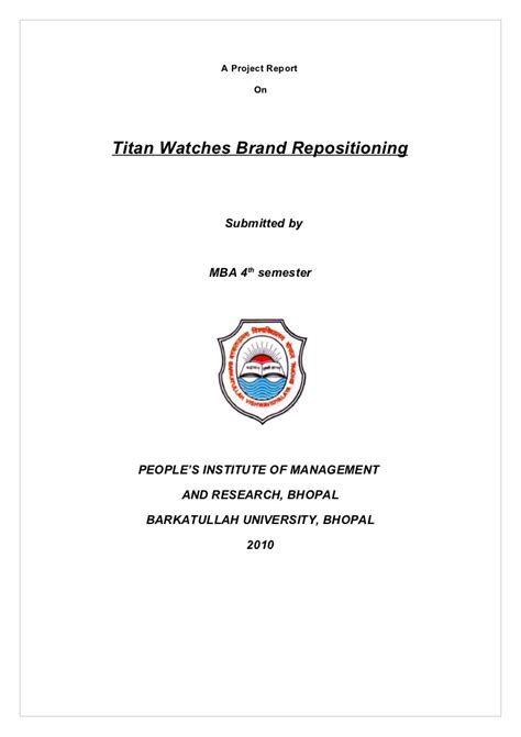 Mba 4th Sem Project Report In Finance by A Project On Titan Watches Brand Repositioning