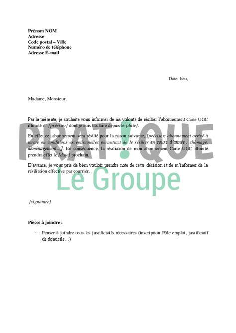 Lettre De R Siliation Abonnement Quotidien lettre de r 233 siliation d abonnement carte ugc illimit 233 pratique fr