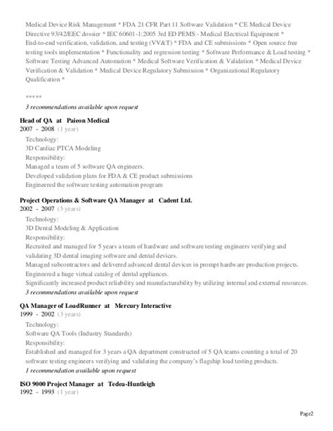 Validation Technician Cover Letter by Cv Resume Shay Ginsbourg Regulatory Testing Affairs Consultant