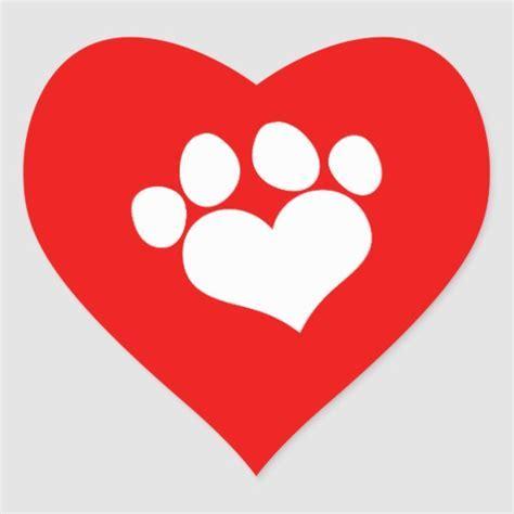 White Heart Paw Print 2 Heart Sticker   Zazzle
