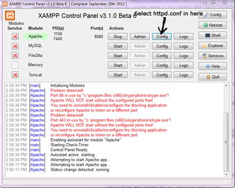 configure xp apache port xampp apache server is not starting after skype