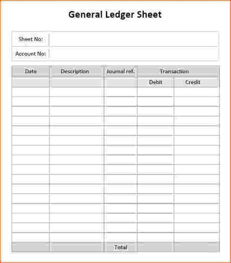 account ledger template 9 general ledger templates