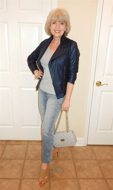 lady biker wear over 50 fifty not frumpy biker jacket and boyfriends
