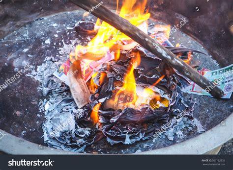 burning money for new year tray ashes burning money paper ancestors stock photo