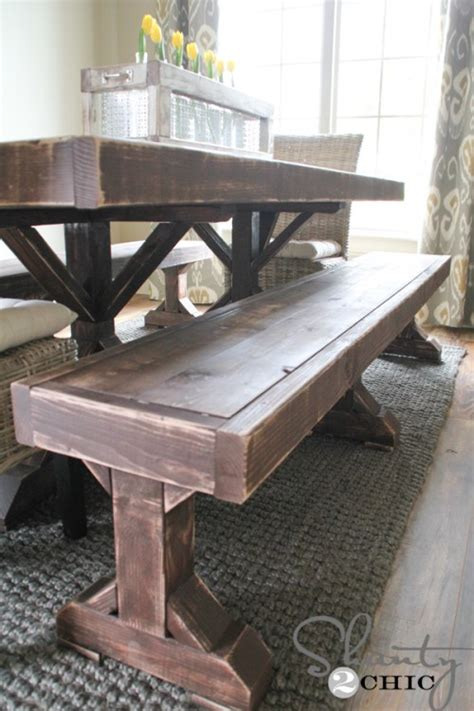 Dining Room Built In Bench Plans Diy Benches For My Dining Table Shanty 2 Chic