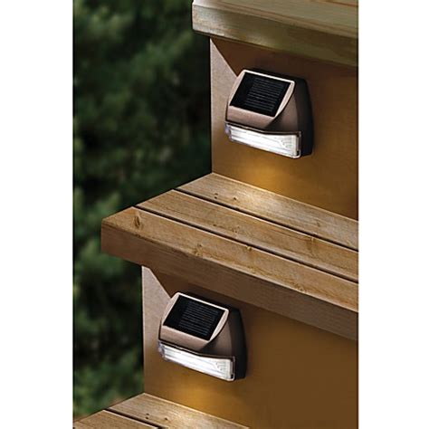 outdoor solar step lights moonrays 174 solar mini deck step light bed bath beyond