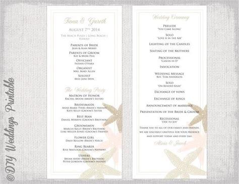 wedding program template quot starfish quot wedding printable ecru chagne blush order of