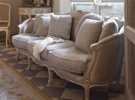 couche in french gracefully vintage upholstery with linen