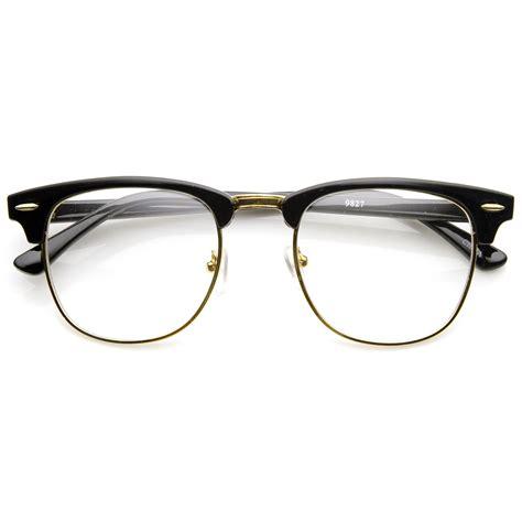 standard vintage dapper half frame clear lens horned glasses 9183 dapper lens and glass