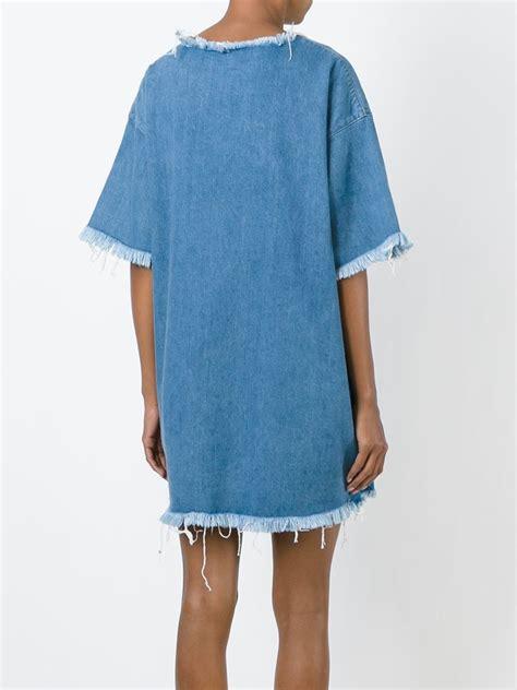 lyst marques almeida frayed edge denim t shirt dress in blue