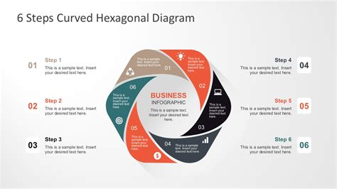 diagram steps 6 steps curved hexagonal diagram