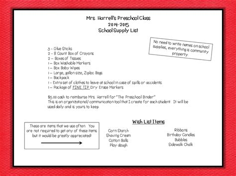 Parent Letter School Supplies Learn Play Pre K Welcome Letters And School Supply List