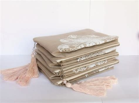 Handmade Pouches Bags - set of 7 bridesmaid bags sand beige linen vintage doily