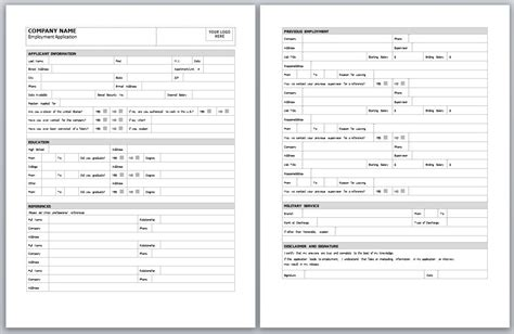 employment application template free printable documents