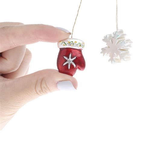 miniature snowflake ornaments miniature pearlescent snowflake and mitten ornaments