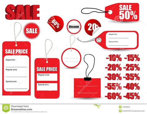 template sale red tag symbol stock vector image 44639029