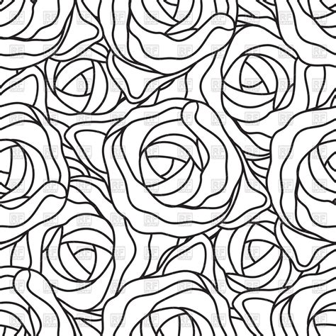 black pattern rose graphic stylized roses seamless pattern in black and white