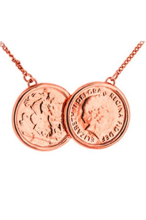 two coin necklace in gold