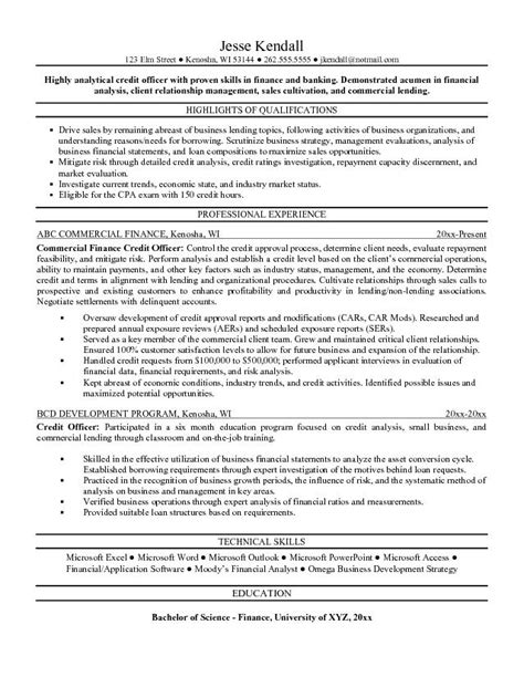 Credit Cv Template Exle Credit Officer Resume Free Sle