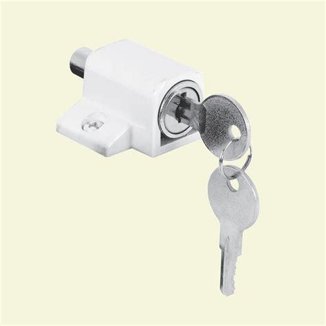 sliding door keyed lock prime line white push in keyed sliding door lock u 9862