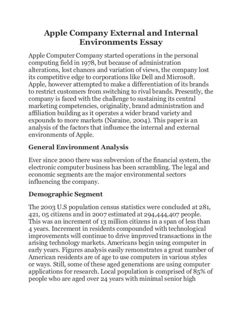 Apple company external and internal environments essay