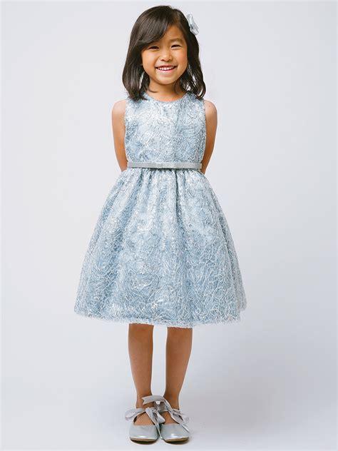 blue silver metallic chord embroidered dress w belt