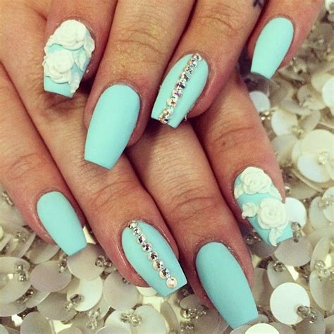 aqua acrylic nails aqua with white acrylic flower nail would if