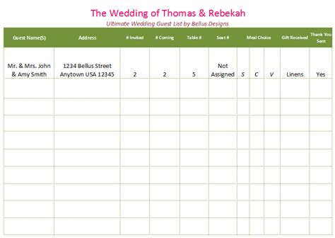 Wedding Organizer Guest List by Printable Wedding Guest List Template For Word And Excel 174