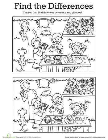 1 picture puzzles for a find the differences book activity books for ages 4 8 volume 1 books find the differences at a picnic worksheets picnics