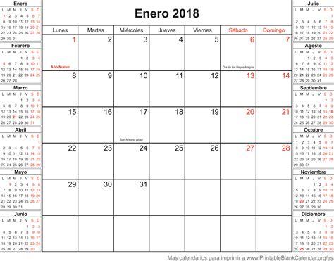 Calendario 2018 Enero Calendario Para Imprimir Enero 2018 Calendarios Para