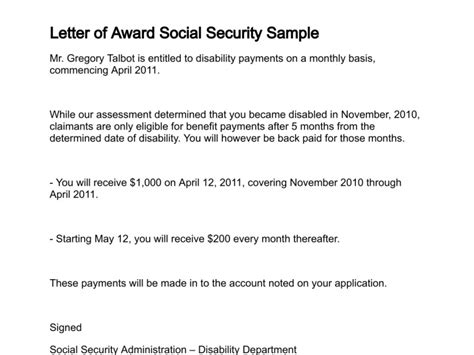 Letter Of Award Social Security Award Letter Template