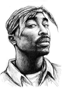 tupac shakur art drawing sketch portrait painting by kim wang