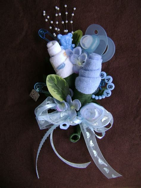 baby shower corsage baby boy washcloth corsage