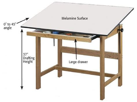 Drafting Table Height Alvin Wtb42 Titan Finish Oak Drafting Table Height 31in X 42in Top 1 Drawer The Top