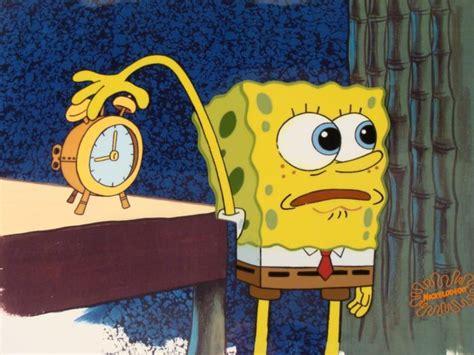 background cel original alarm clock spongebob animation