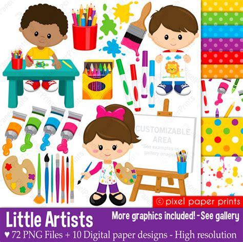 artists clipart artists clip and digital paper set